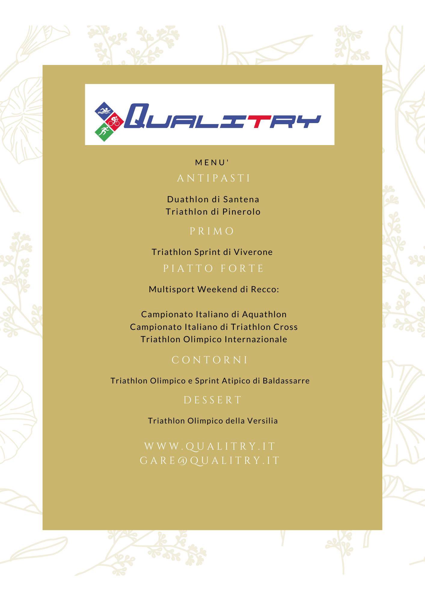 Pronto il Menu' di Gare 2020 di Qualitry